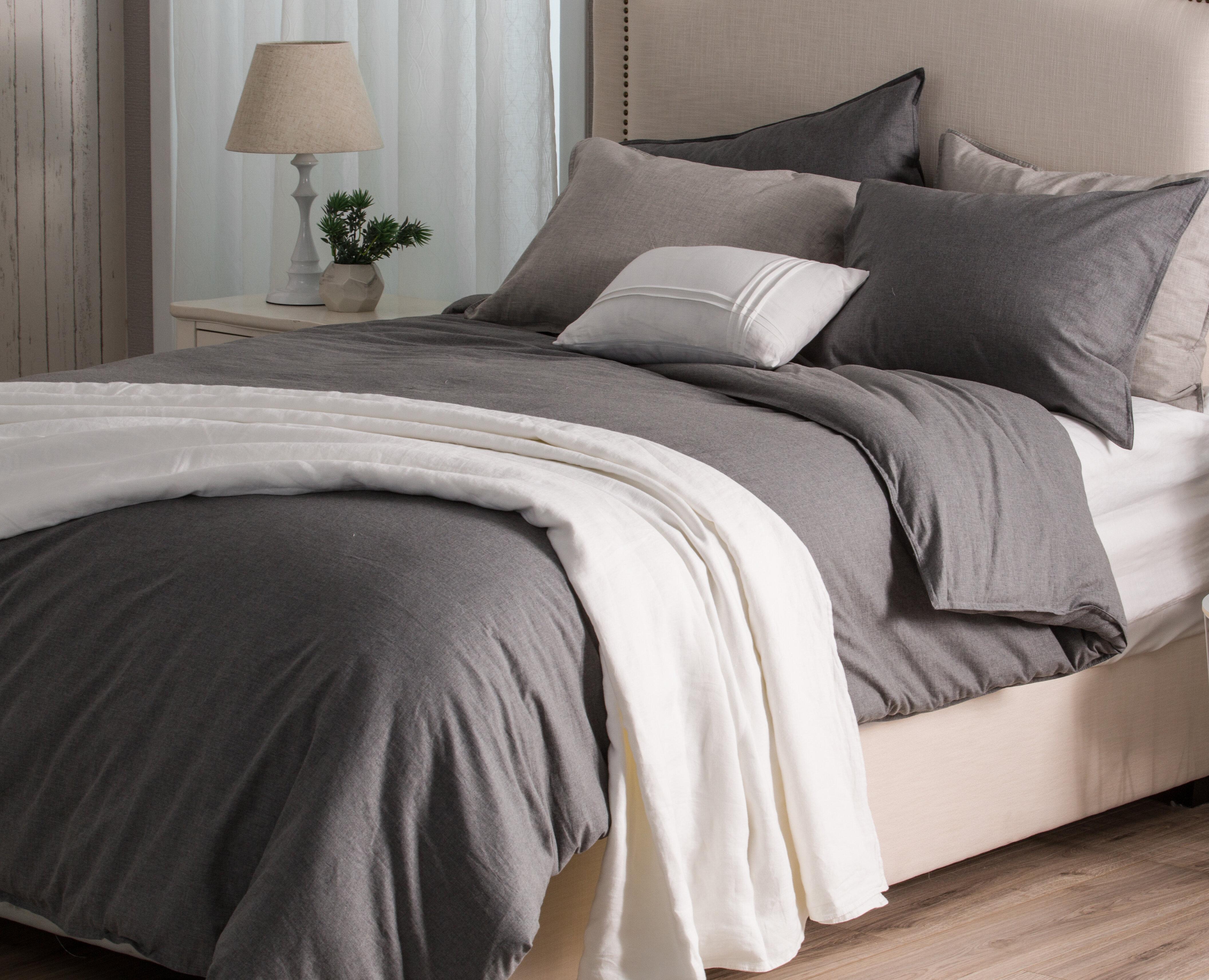 Canora Grey Heathered Cotton Melange 3pcs Duvet Cover With Matching Pillow Shams Light Grey Queen Reviews Wayfair Ca