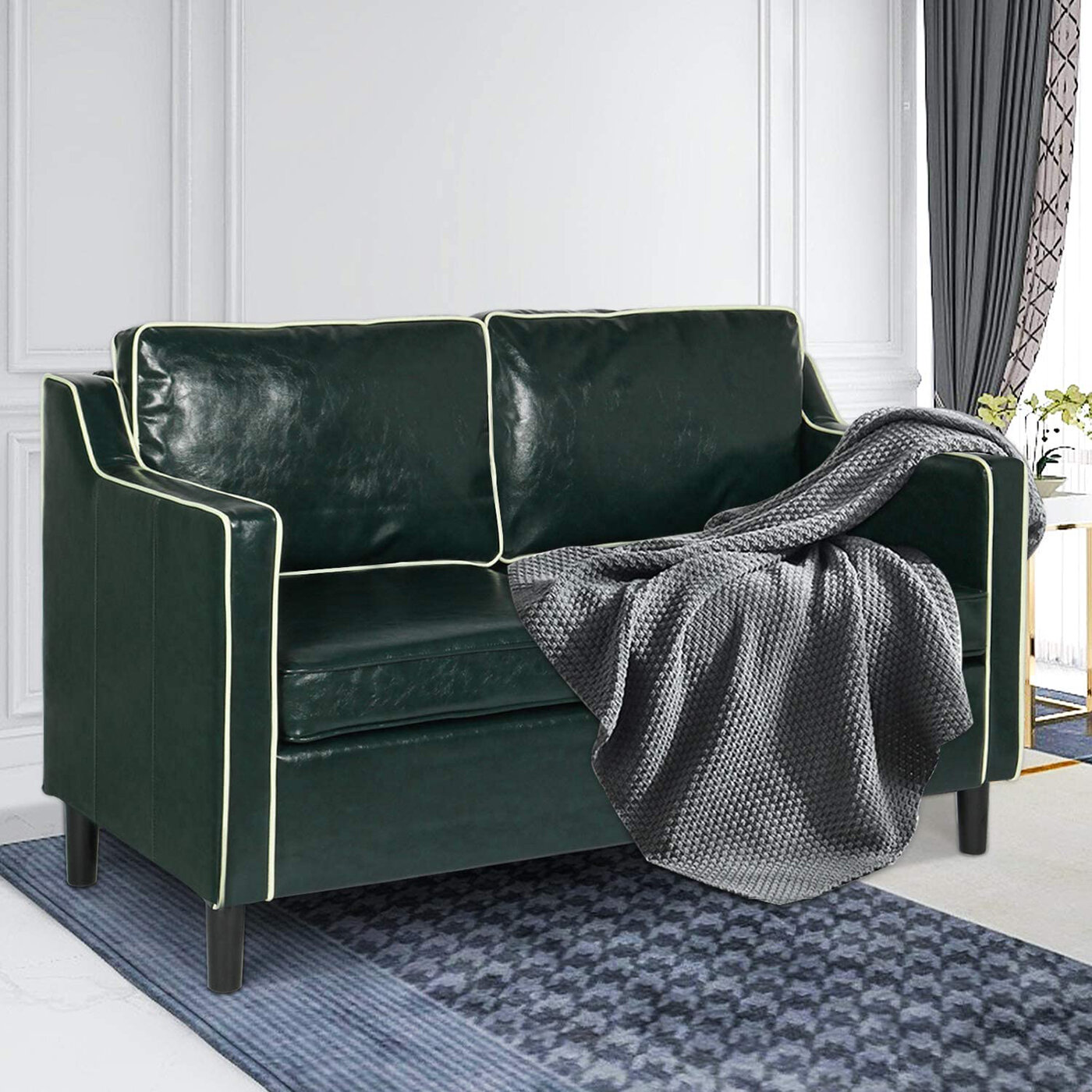 Longshore Tides Faux Leather Modern Loveseat Sofa Suitable For Small Space Configuration Luxurious Double Seat Sofa Bedroom Office Couch Green Wayfair Ca