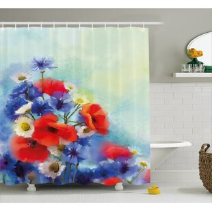 Duran Close Up Structured Bouquet With Flower Types Poppy Peace Design Single Shower Curtain