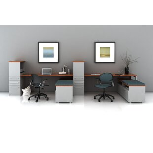 Trig Desking with Low Storage L-Shape Desk Office Suite