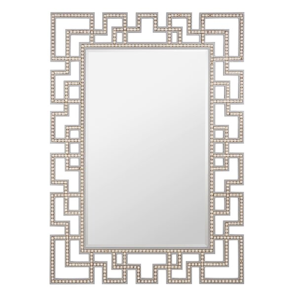 Crystal Wall Mirror rectangle wood and crystal wall mirror & reviews | allmodern