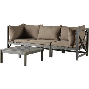 Lynwood Modular Outdoor 2 Piece Sectional Seating Group With Cushions