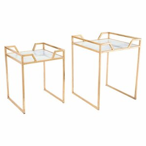 Mercer41 Brussels Faux Marble 2 Piece Nesting Tables
