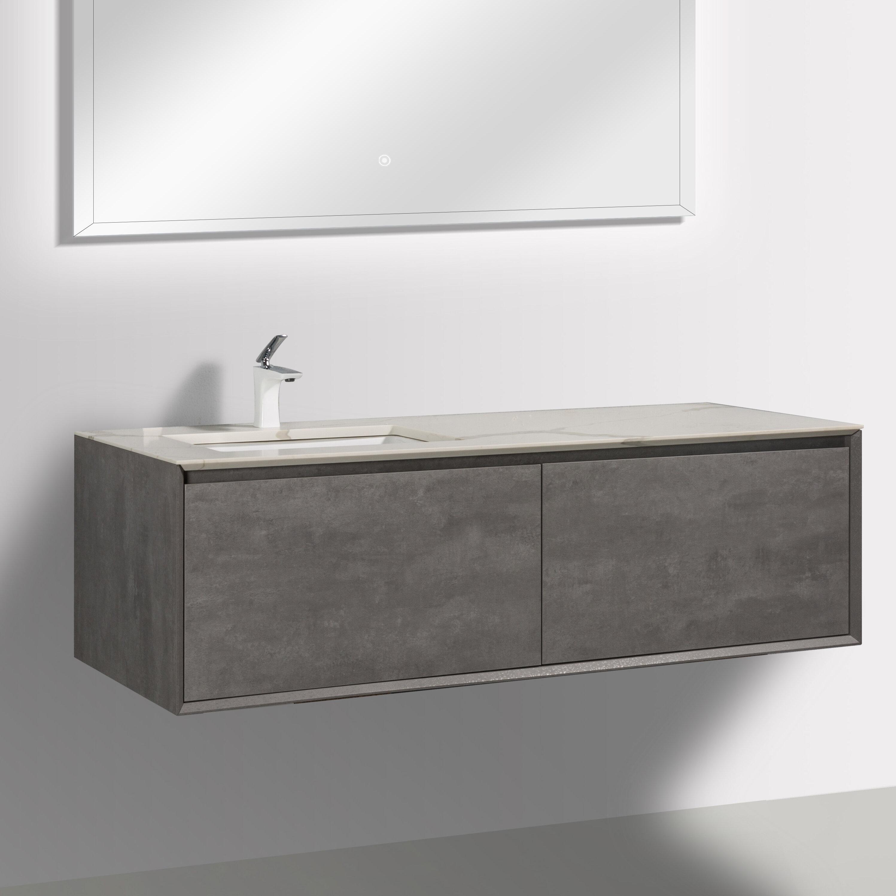Latitude Run Albaladejo 58 8 Wall Mounted Single Bathroom Vanity Set Wayfair