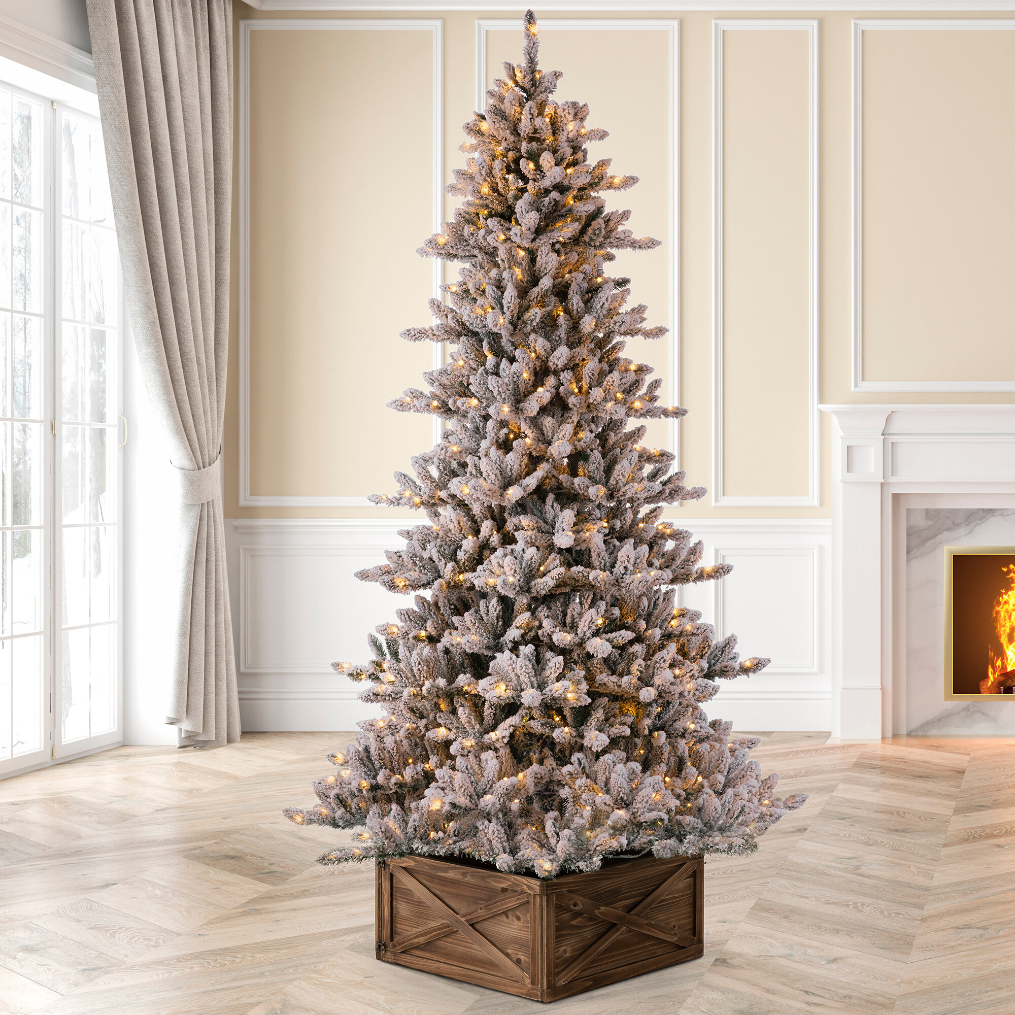 The Holiday Aisle 7 5 Green White Fir Artificial Christmas Tree With 400 White Lights Reviews Wayfair