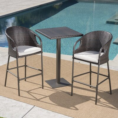 Brayden Studio Cordelia 3 Piece Bar Height Dining Set with Cushions