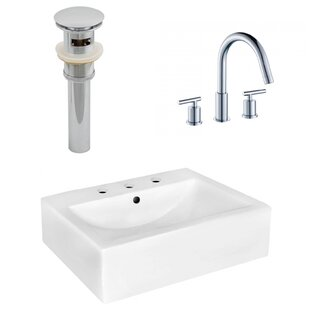 Read Reviews Ceramic 20 Wall-Mount Bathroom Sink with Faucet and Overflow ByRoyal Purple Bath Kitchen