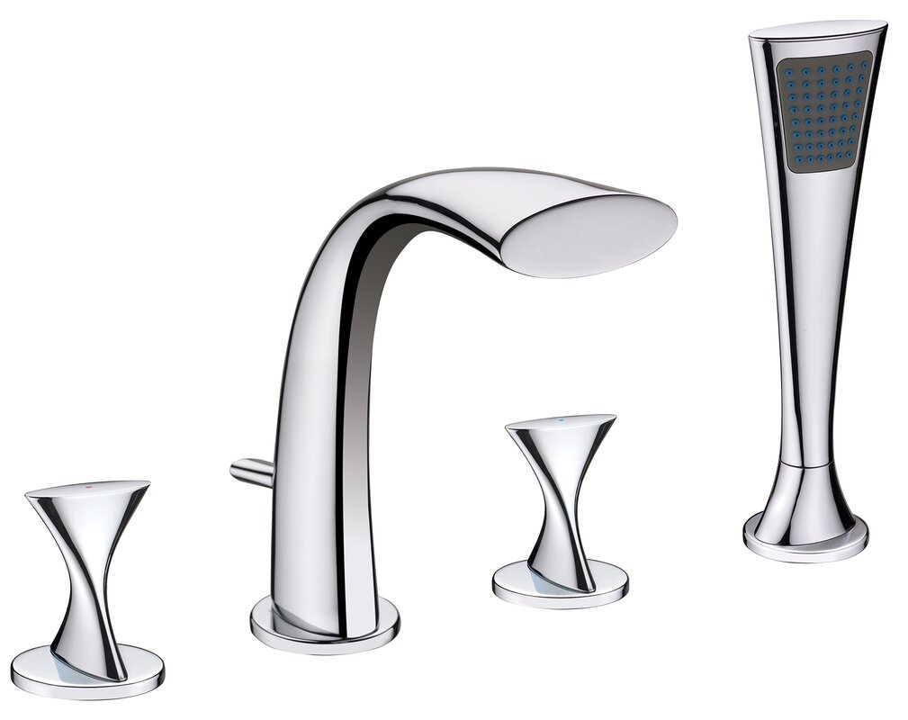 Twist Two Handle Deck Mount Roman Tub Faucet With Hand Shower