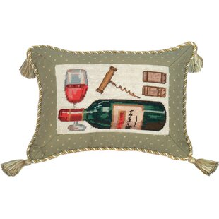 Wine Needlepoint Wool Lumbar Pillow