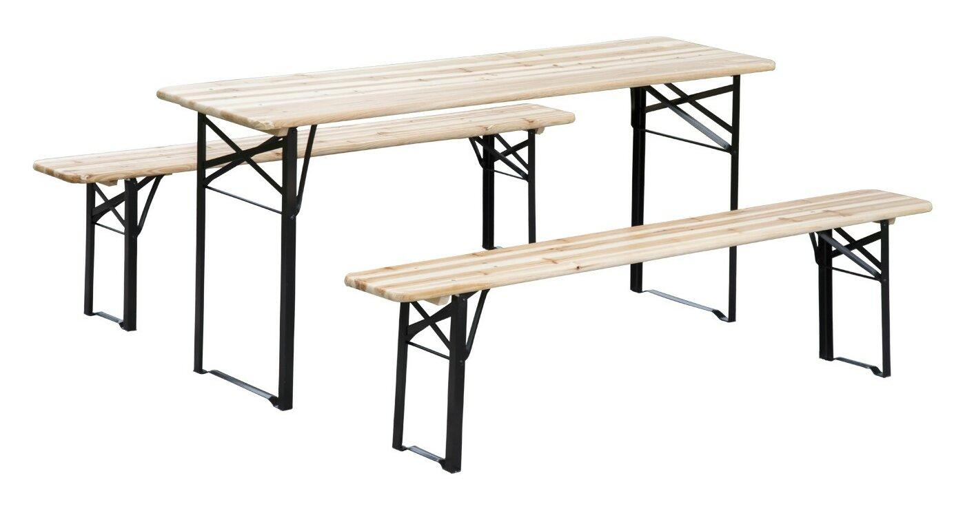Andover Mills Baumgarten 3 Piece Outdoor Folding Picnic Table Set ...