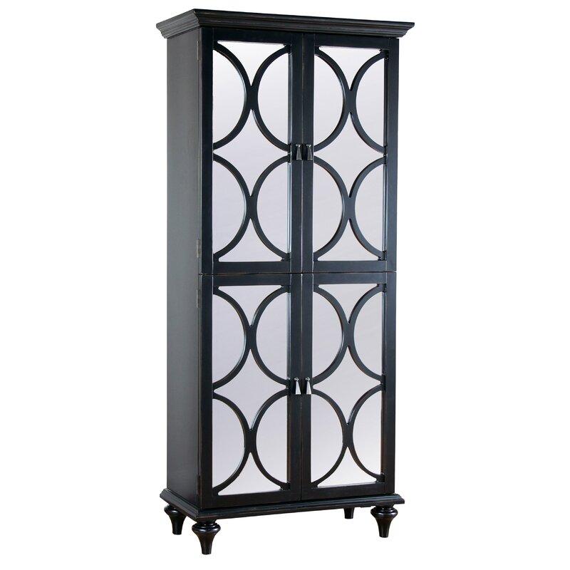 Ingram Tall Mirrored Wine Bar Cabinet