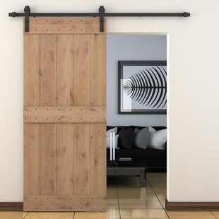 Paneled Wood Primed Alder Barn Door Without Installation Hardware Kit
