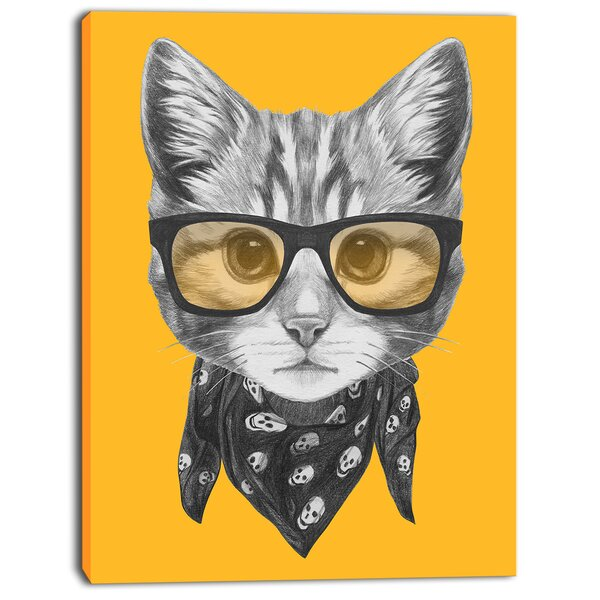 Designart Funny Cat With Glasses And Scarf Graphic Art On Wrapped Canvas Reviews Wayfair