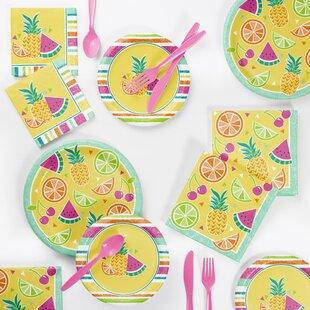 72 Piece Summer Fruit Paper/Plastic Disposable Party Supplies Kit