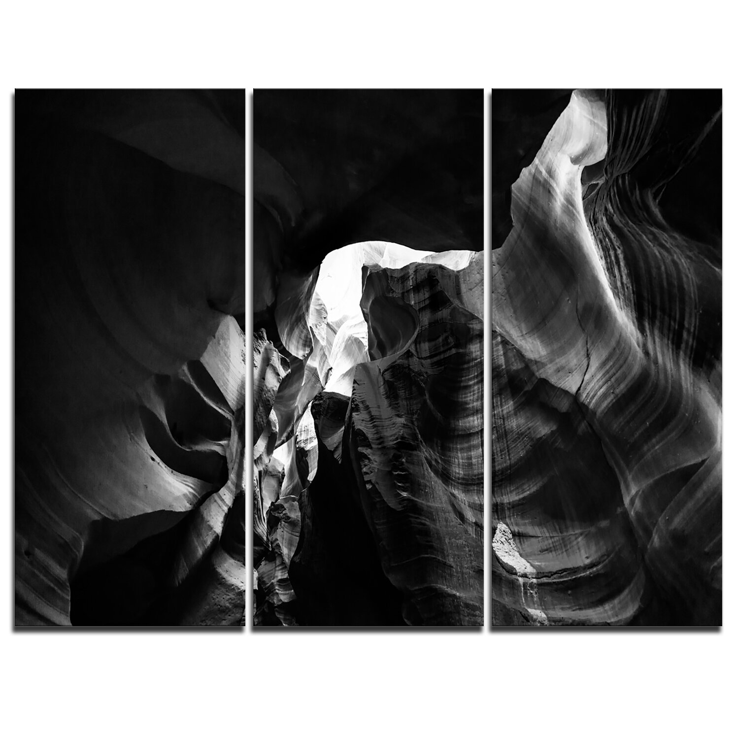 Designart black and white antelope canyon 3 piece graphic art on wrapped canvas set wayfair ca