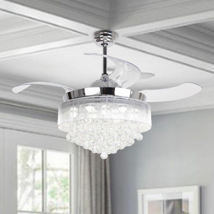 46 Broxburne 4 Blade Led Ceiling Fan With Remote Light Kit Included