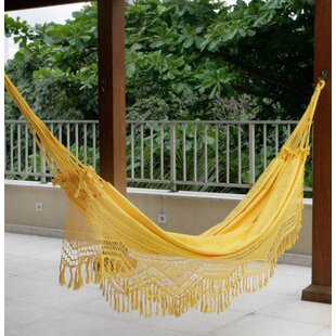 Double Person Fair Trade Portable Amazon Sun' Hand-Woven Brazilian Sustainable Cotton with Crocheted Fringes Indoor And Outdoor Hammock
