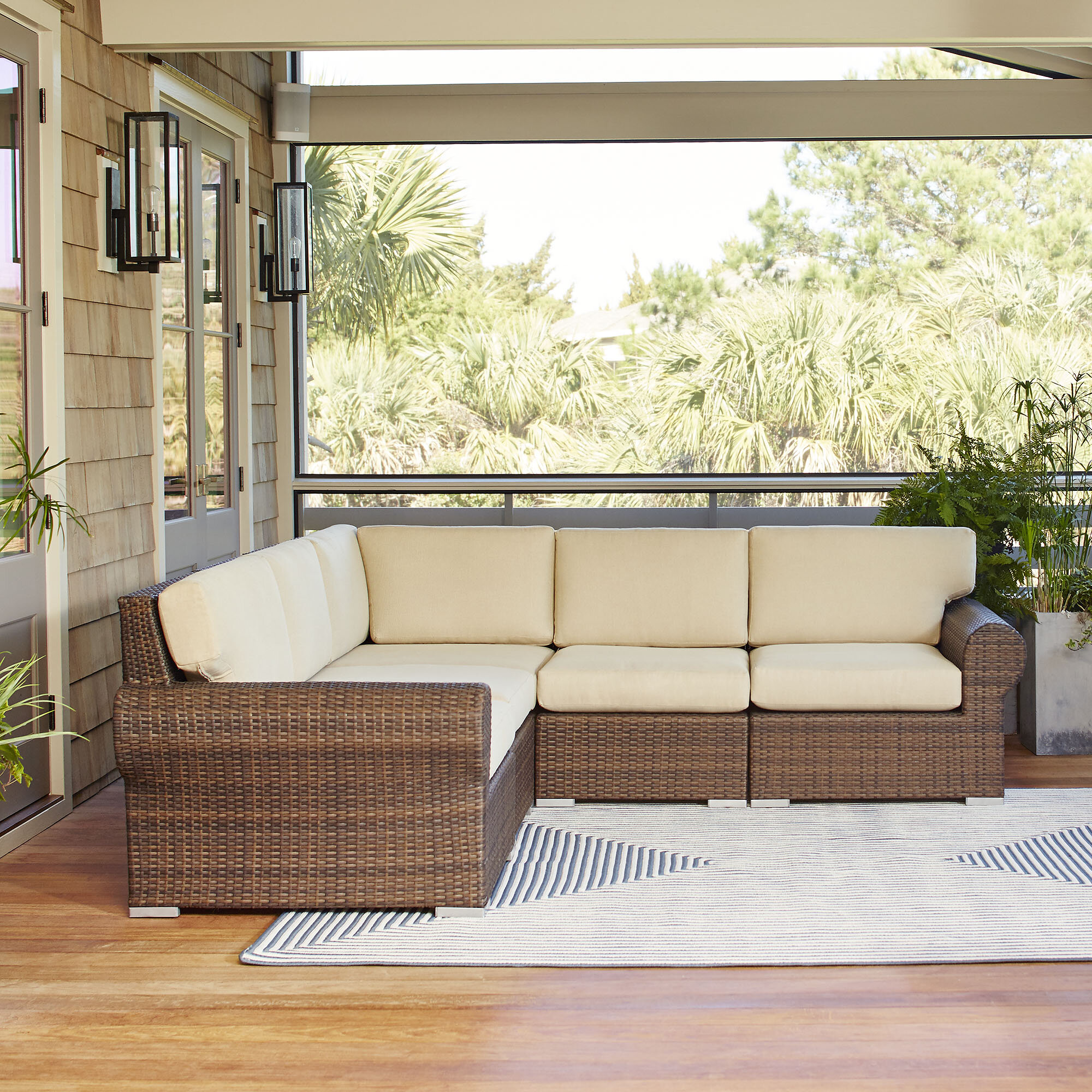 Birch Lane Brookhaven Patio Sectional With Cushions Reviews