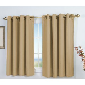 Exceptional Saffold Short Solid Semi Sheer Grommet Single Curtain Panel