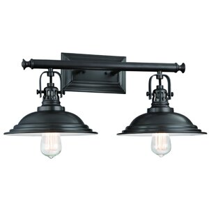 Rustic farmhouse vanity lights youll love wayfair the bowery 2 light vanity light mozeypictures Gallery