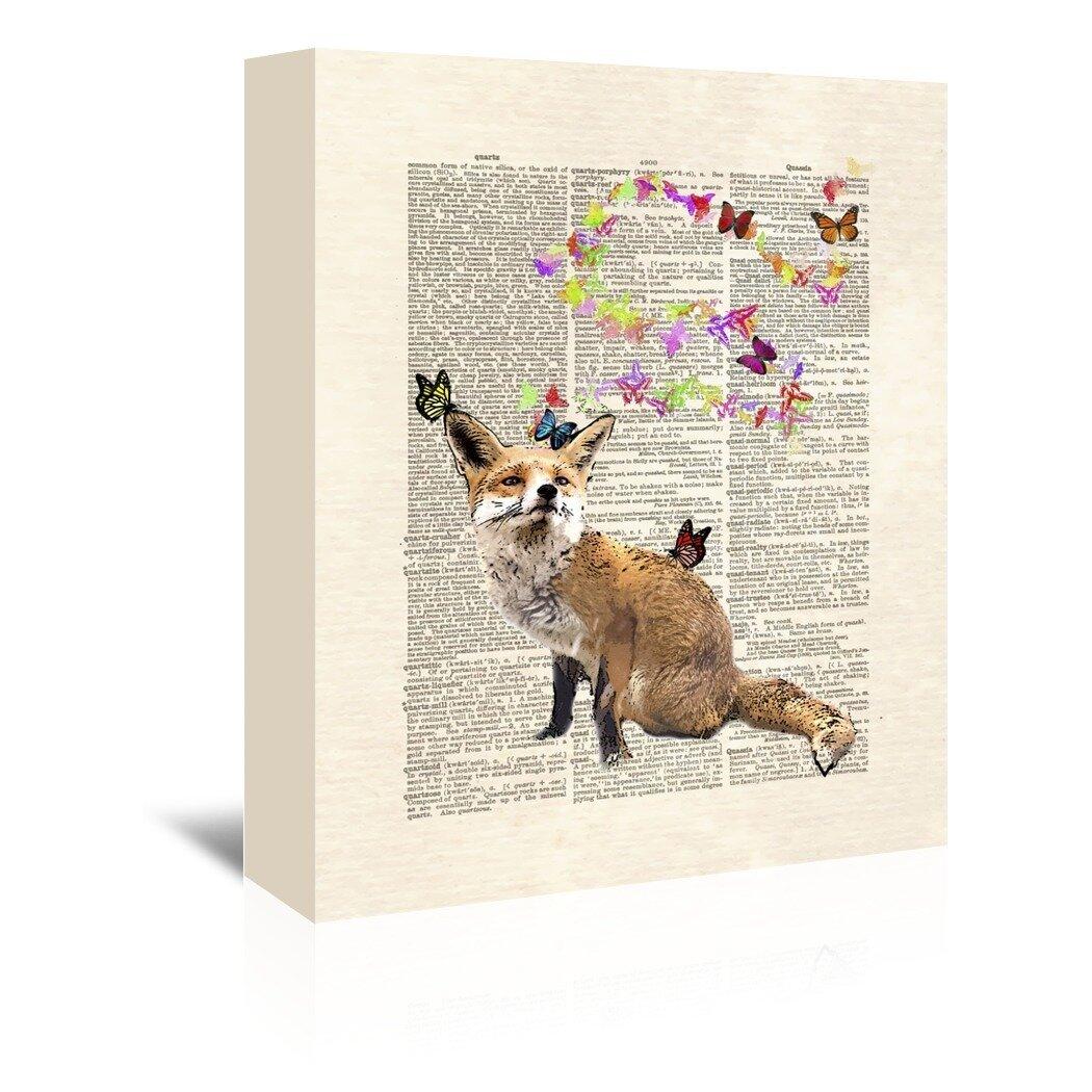 East Urban Home Fox Butterflies Graphic Art On Wrapped Canvas Wayfair