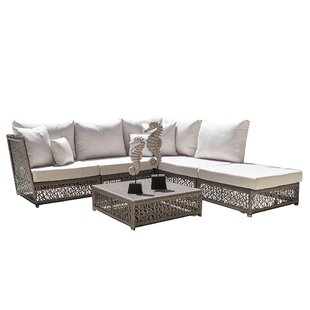 Maldives Patio Sectional Set with Sunbrella Cushions (Set of 6)