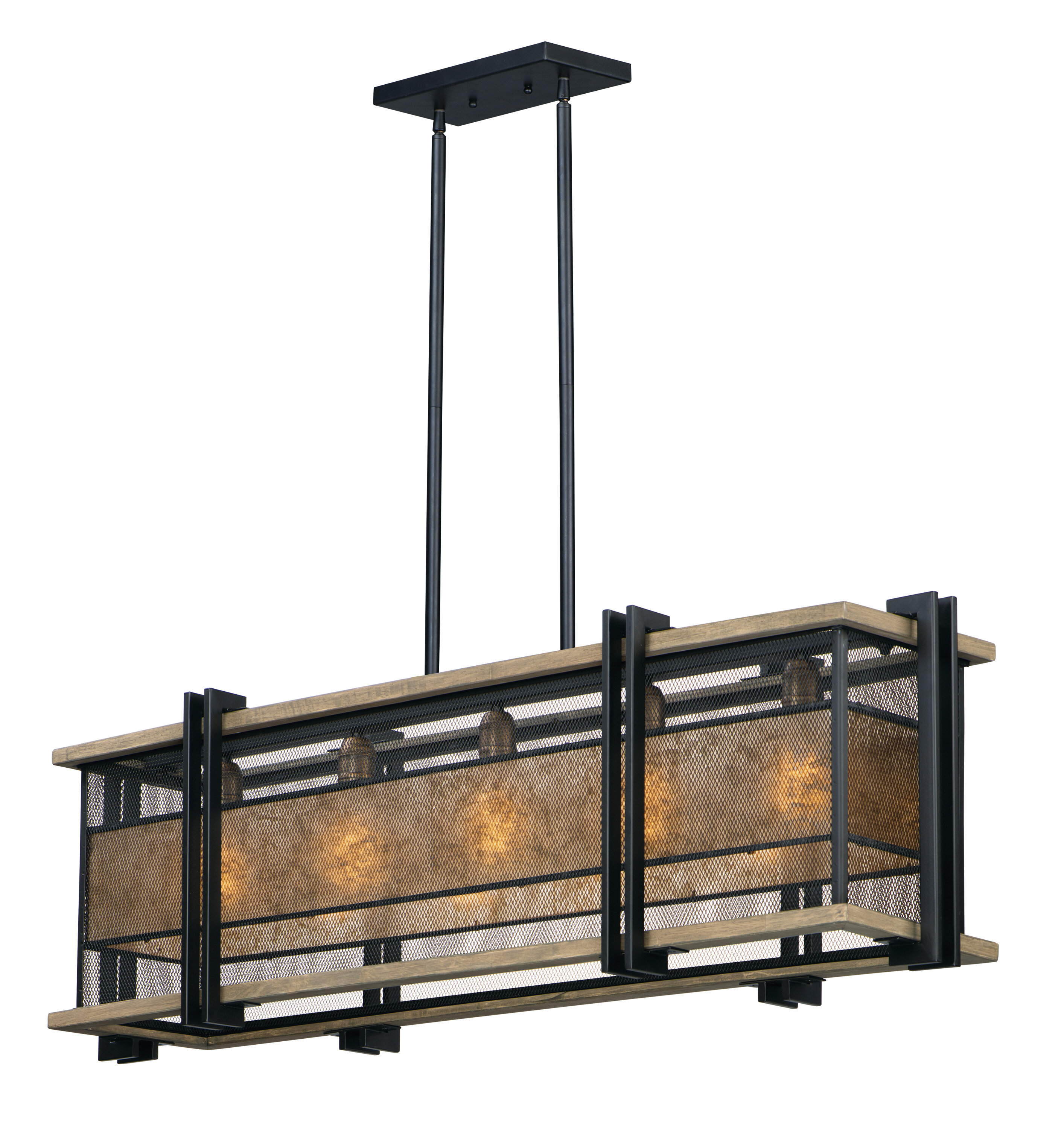 Williston Forge Moreland 5 Light Kitchen Island Linear Pendant With Wood Accents Wayfair