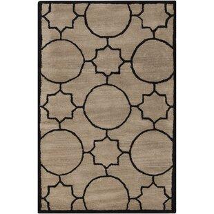 Best Lepus Geometric Hand-Tufted Wool Tan/Black Area Rug ByBrayden Studio