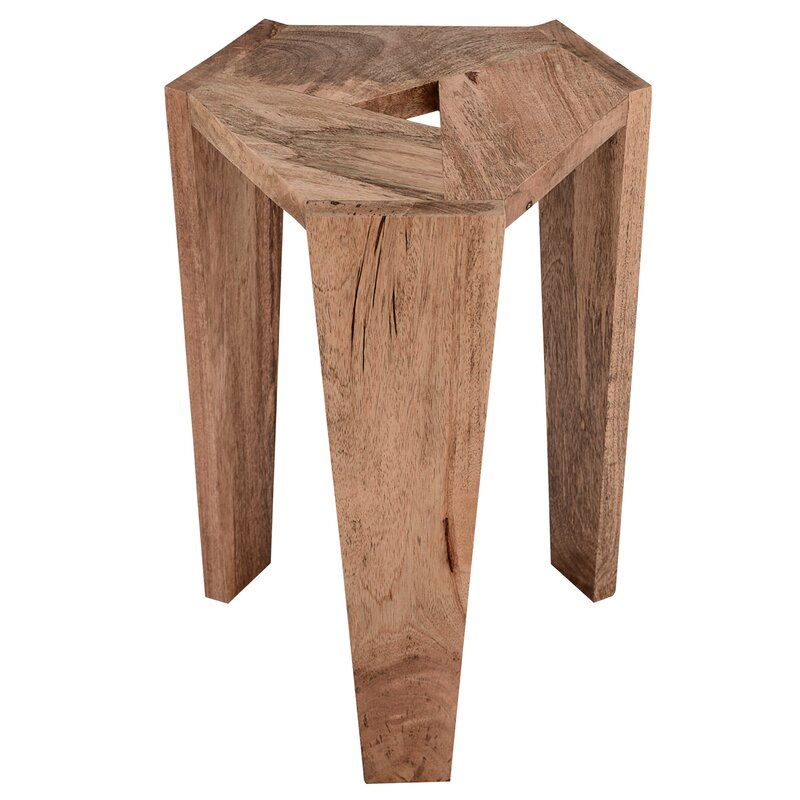 Wood Accent Stool - Get the Look! Modern Rustic Interior Design in a Masculine Ski Chalet