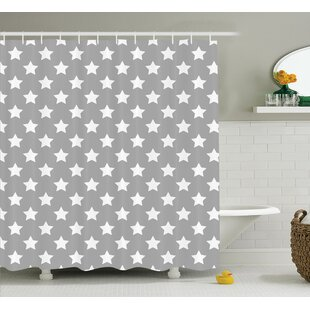 Amy Big Stars Pattern Monochrome Artful Modern Baby Nursery Starry Night Themed Single Shower Curtain