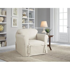 Marvelous Cotton Duck Box Cushion Armchair Slipcover
