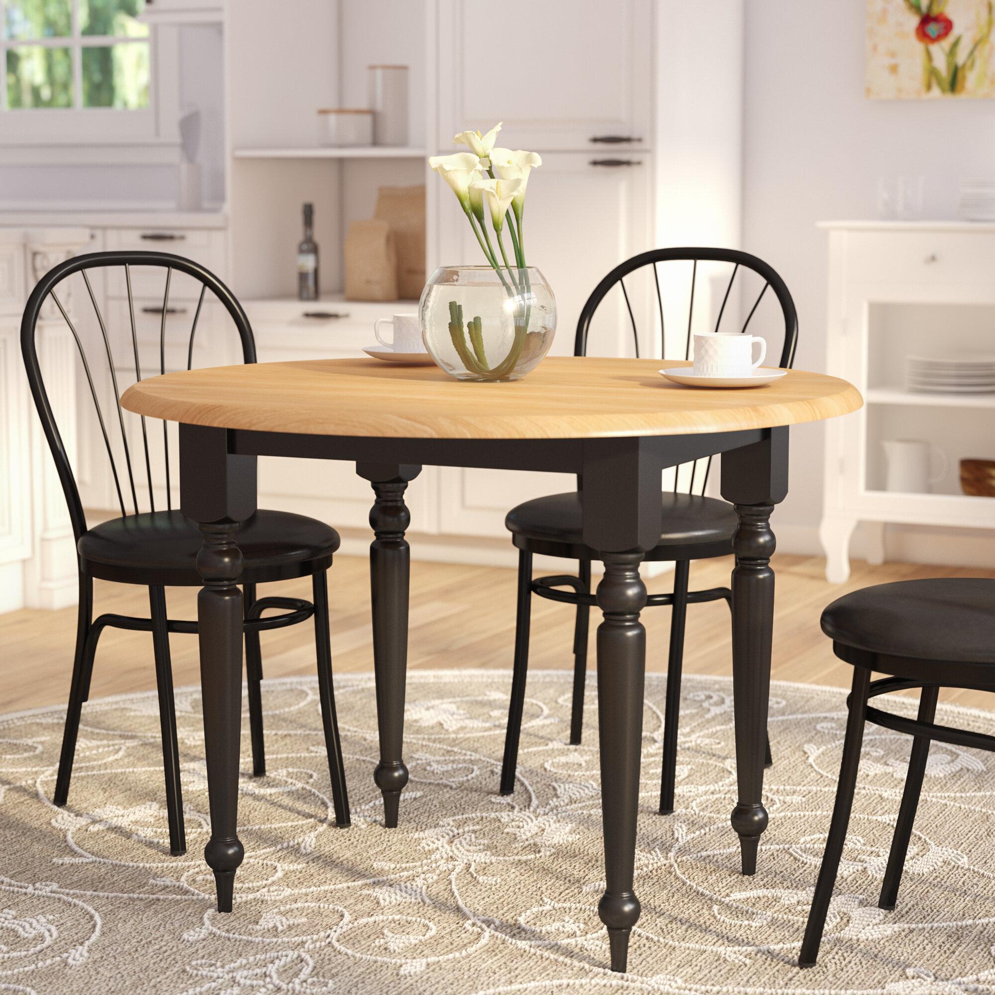 Alcott Hill Cecelia Extendable Drop Leaf Rubberwood Solid Wood Dining Table Reviews Wayfair