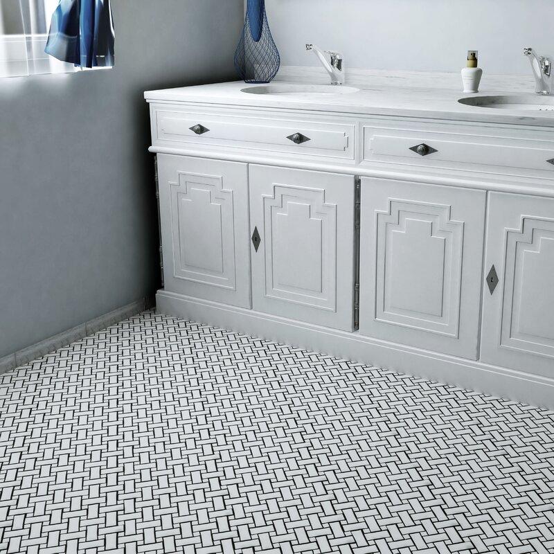 Retro Basket Weave Random Sized Porcelain Mosaic Tile In White