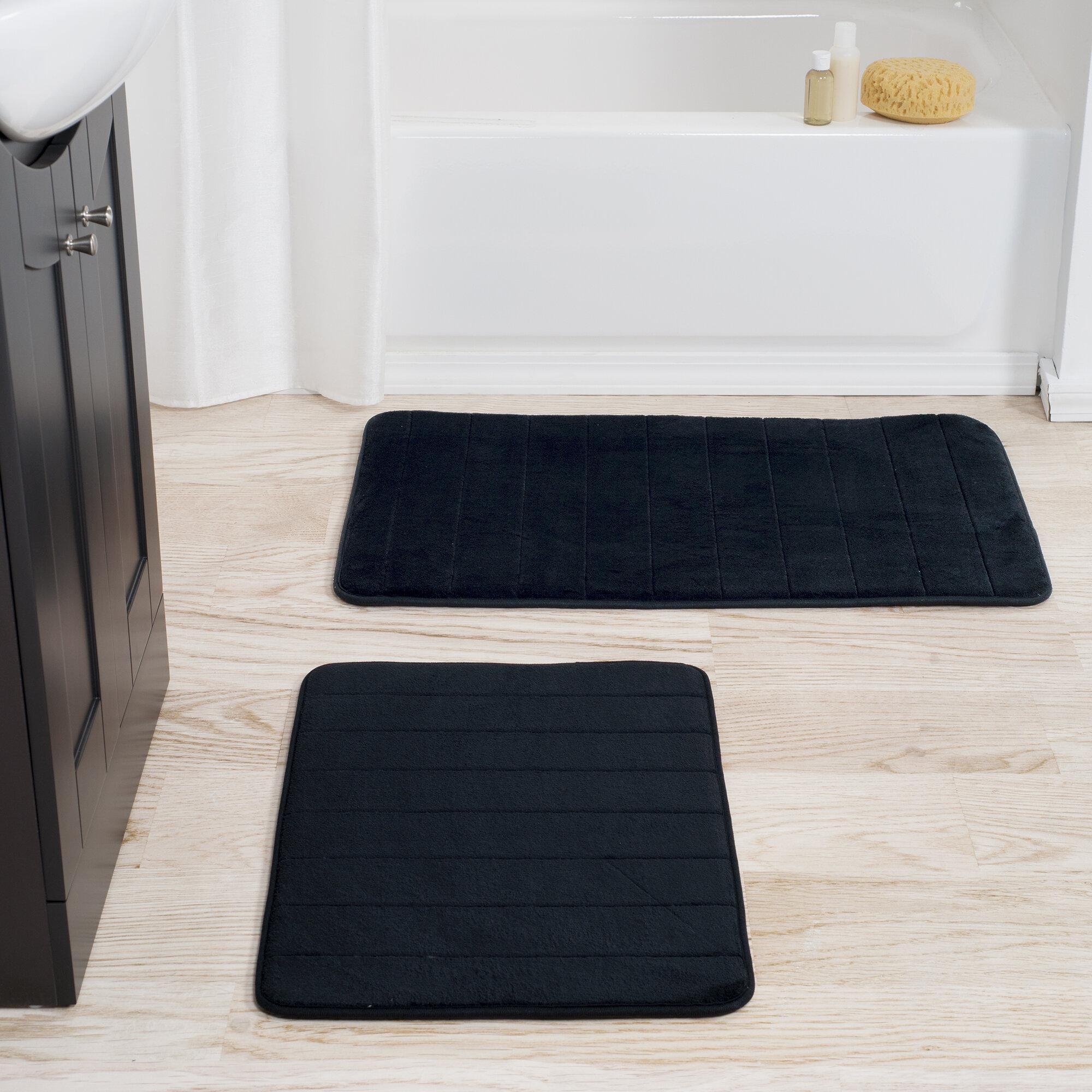 Plyh Rectangle Non Slip Striped Piece Bath Rug Set Reviews Wayfair
