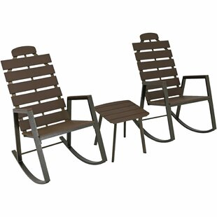Castleford Slatted Rocking 3 Piece 2 Person Seating Group with Cushions
