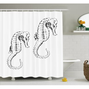 Roxanna Sketchy Ocean Fish Shower Curtain + Hooks