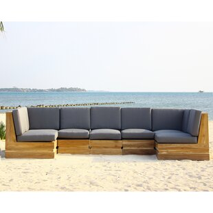 Seaside 7 Piece Teak Sunbrella Sectional Set with Cushions