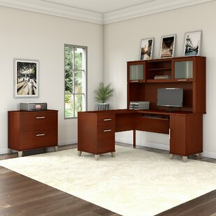 Kirchoff 3 Piece L-shaped Desk Office Suite by Ebern Designs Great price