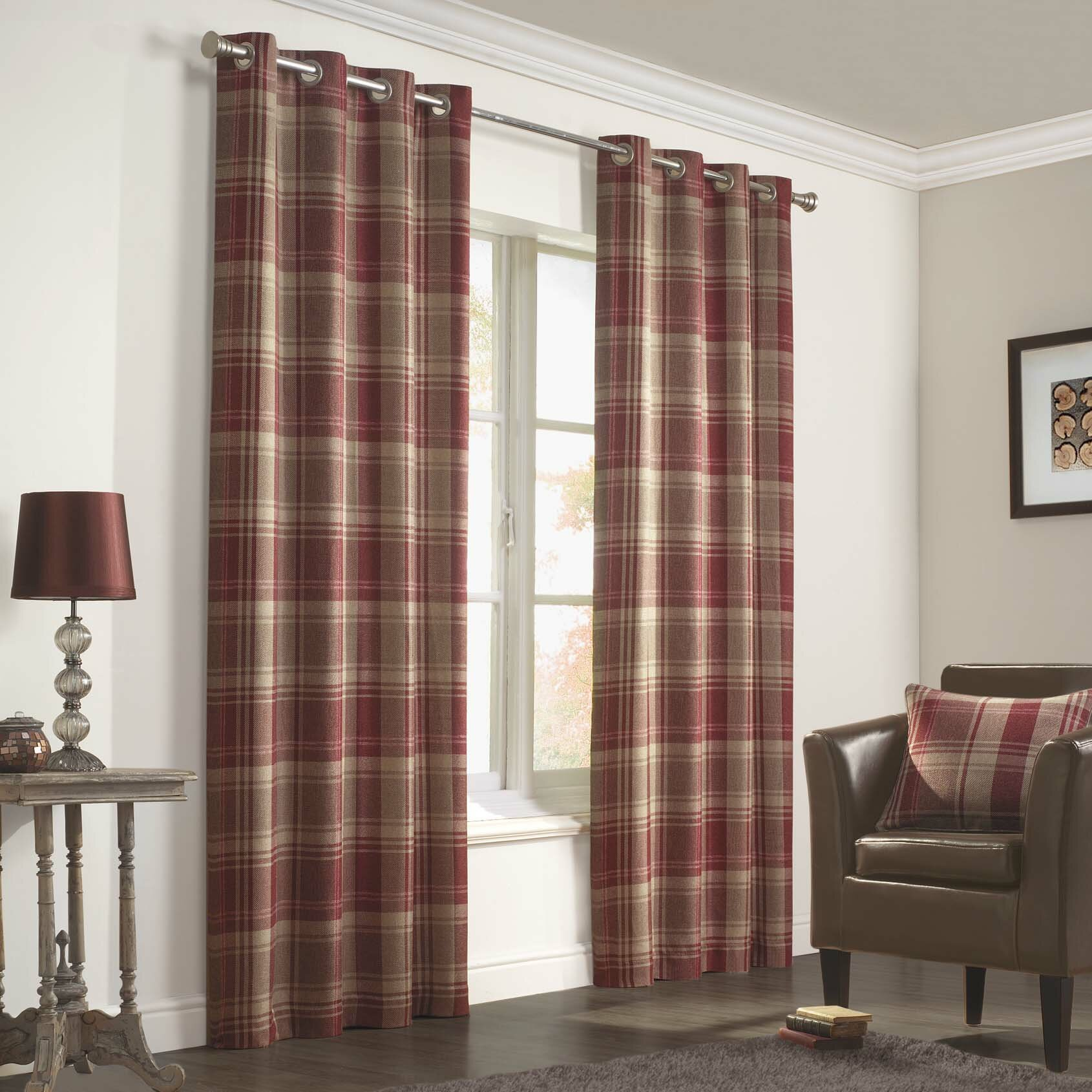 Brown plaid curtain panels - Inverness Curtain Panels