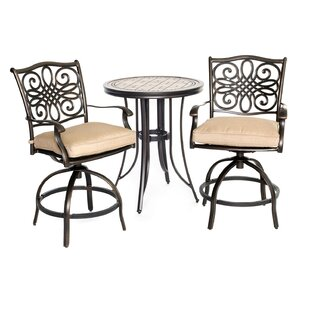 Bucci 3 Piece Bistro Set with Cushions by Fleur De Lis Living