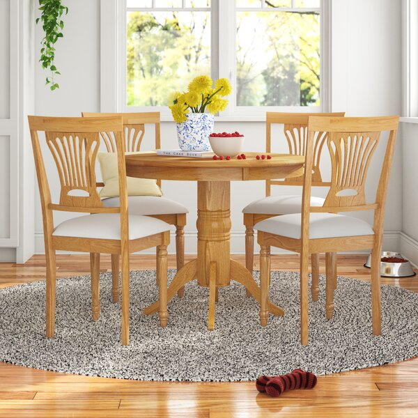 Andover Mills Montevia Contemporary 5 Piece Rubber Solid Wood Dining Set Wayfair