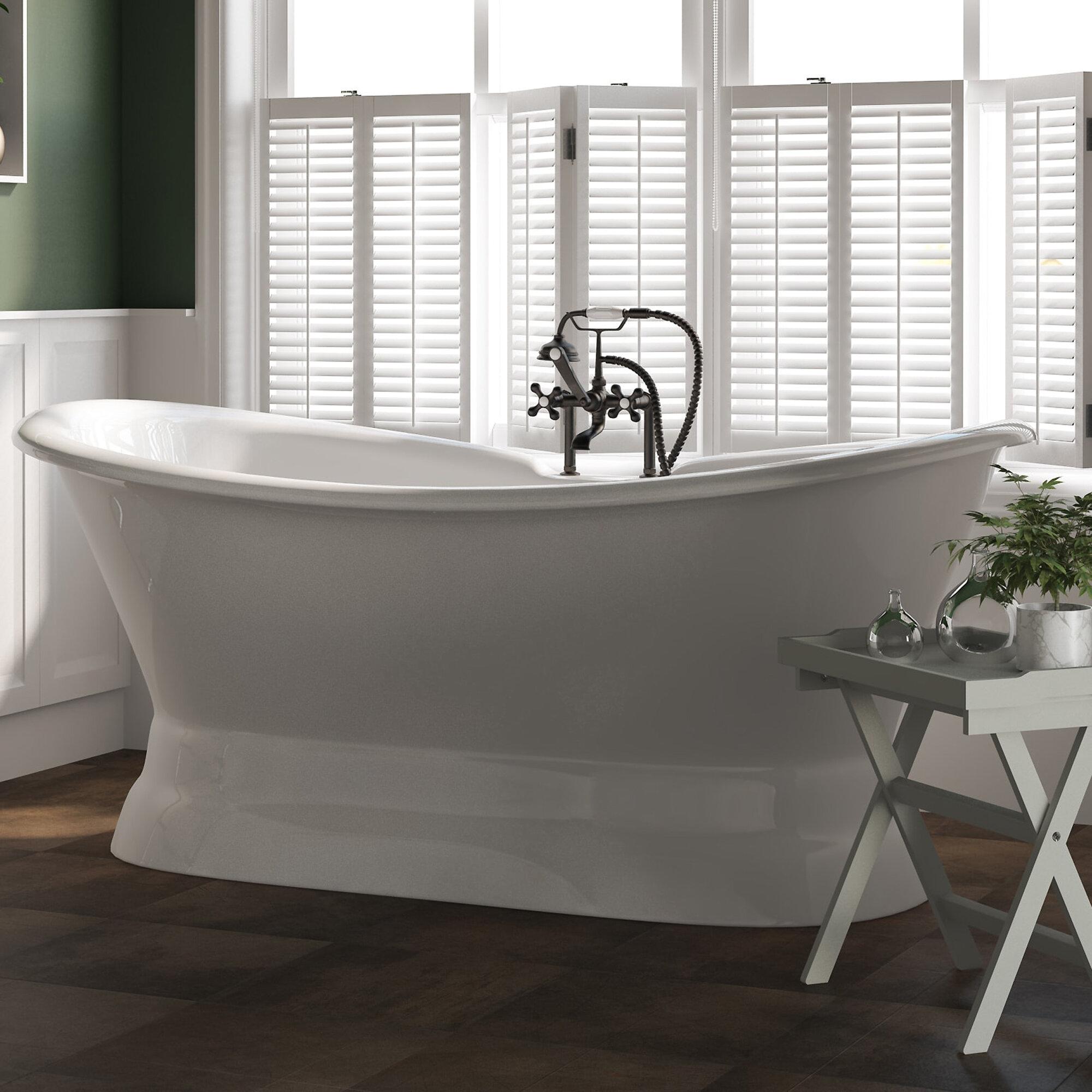 Picture of: Cambridge Plumbing None 72 X 30 Pedestal Bathtub Reviews Wayfair