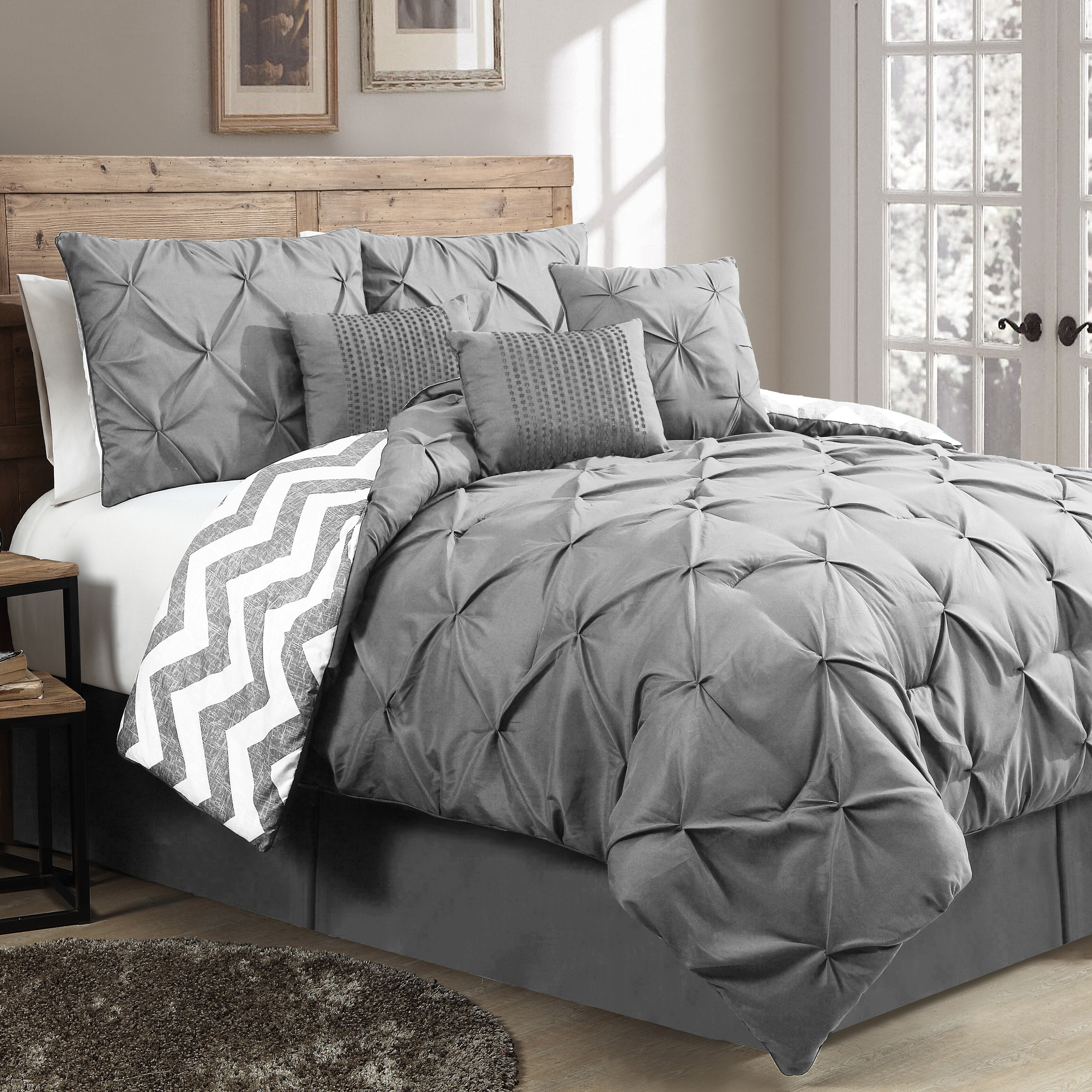 bedroom sets and set purple grey gray bedding comforter king