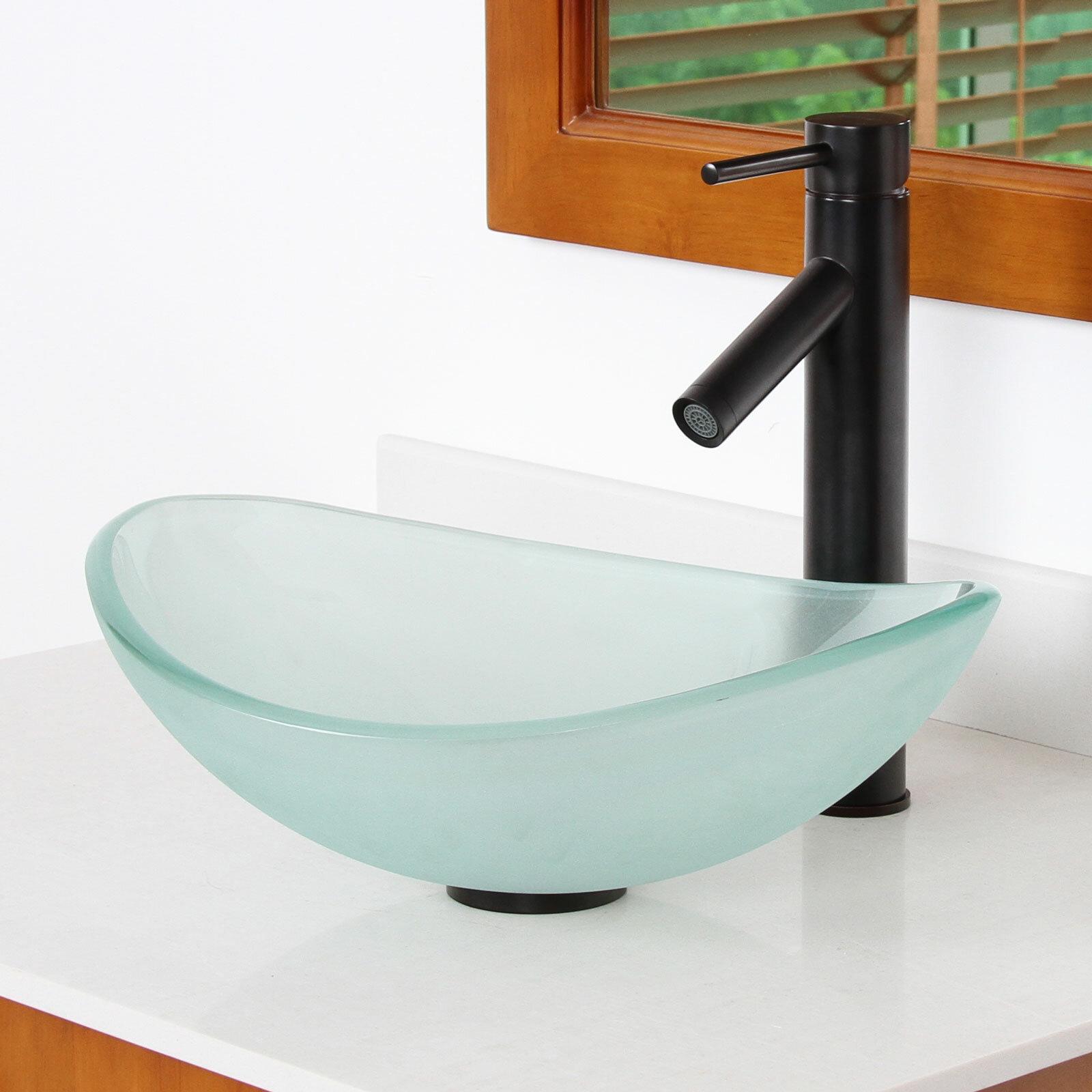 Elite Mini Tempered Glass Oval Vessel Bathroom Sink Reviews Wayfair