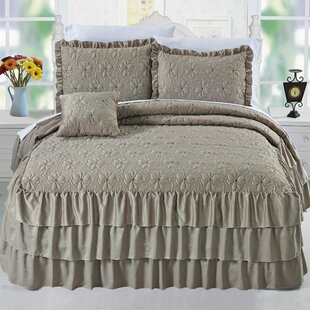 Reinhart Ruffle Matte Satin 4 Piece Coverlet Set