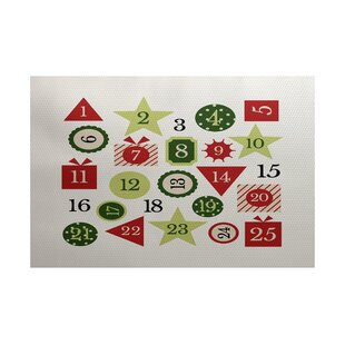 Reviews Advent Calendar Red Indoor/Outdoor Area Rug ByThe Holiday Aisle