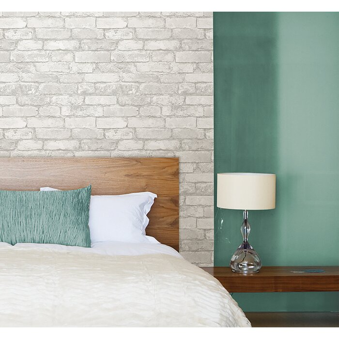 Wokingham Gray And White 18 X 20 5 Brick Peel And Stick Wallpaper Roll