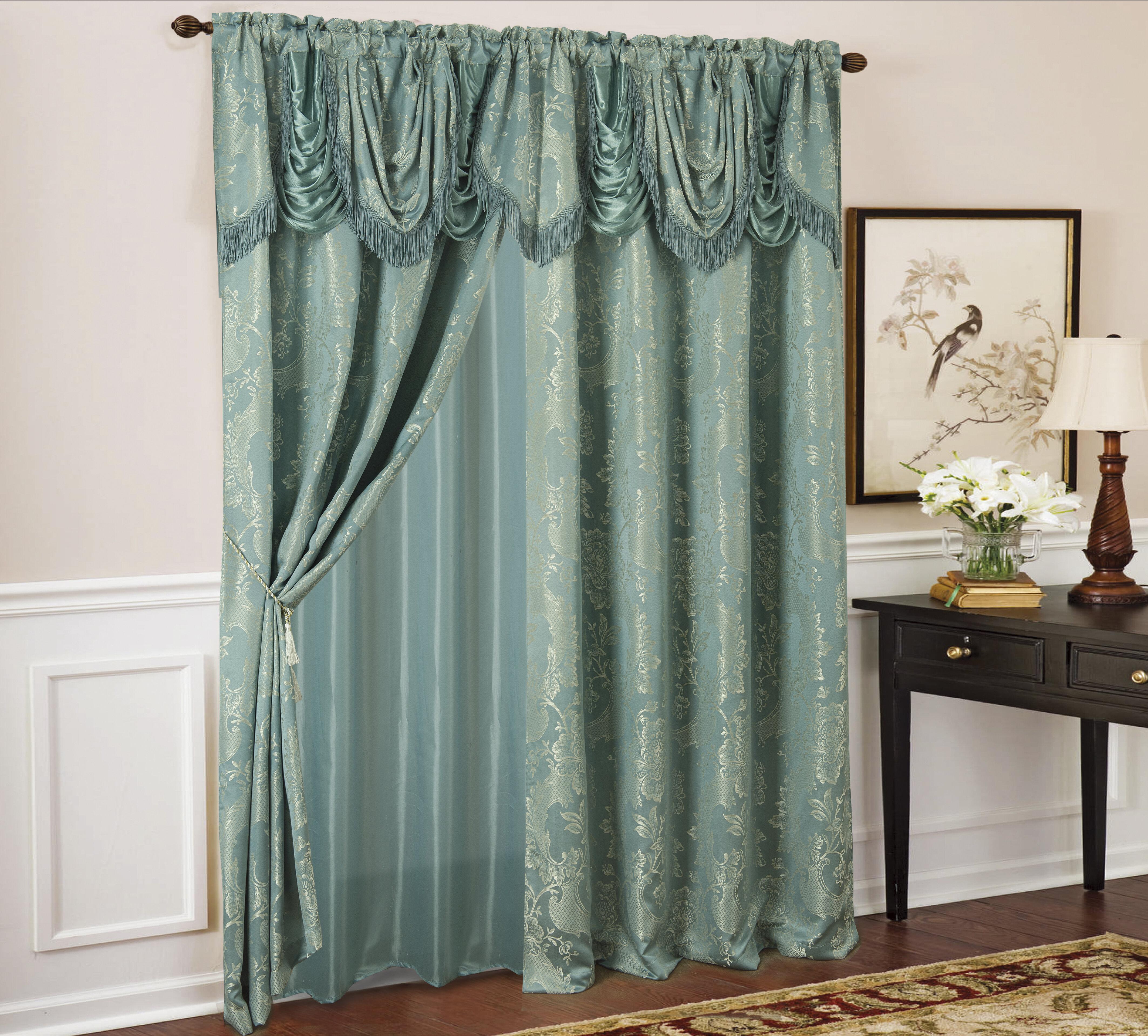 Astoria Grand Townsville Textured Jacquard Floral Rod Pocket Single Curtain Panel Reviews Wayfair
