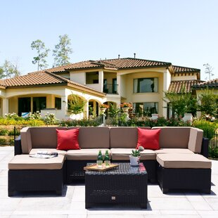 Maia 7 Piece Rattan Sectional Set With Cushions by Ebern Designs Amazing