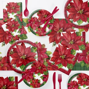 Maguire Poinsettia 73 Piece Party Supplies Kit by The Holiday Aisle Find